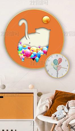 动物3d立体可爱猫咪屁股创意儿童房挂钟装饰画