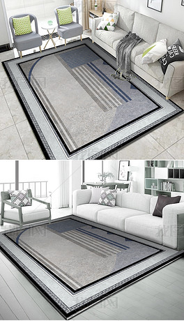 现代灰蓝地毯