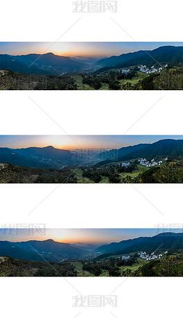 宽幅江岭日出摄影图