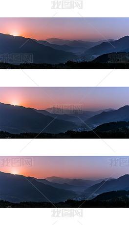 黑金江岭日出摄影图
