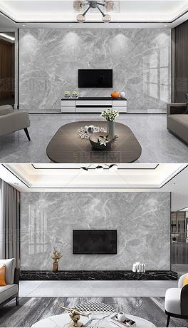 简约灰色大理石纹客厅电视悬空背景墙