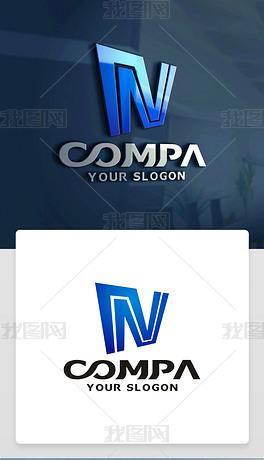 原创精品创意简约N字母标志N字母LOGO设计
