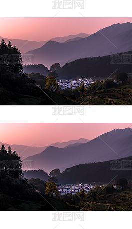 大山山村日出风光图片