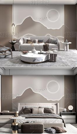 现代简约3D轻奢高档实木格栅卧室沙发背景墙