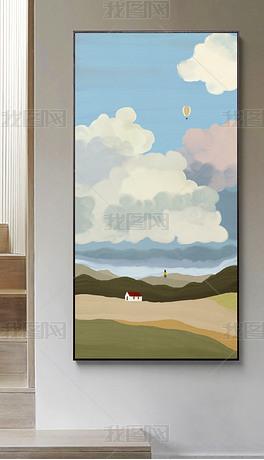 北欧抽象清新简约风光走廊过道挂画玄关画1