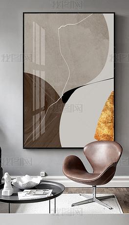 现代简约轻奢金箔几何抽象线条玄关走道装饰画3