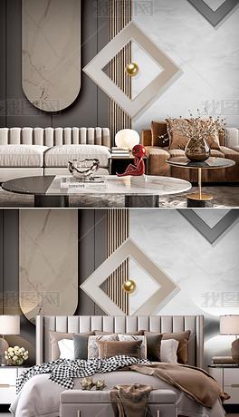 立体质感抽象几何现代简约沙发背景墙3