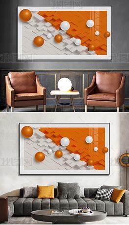 现代轻奢玄关客厅立体几何3D立体球装饰画1