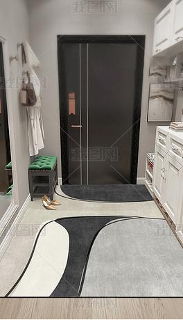现代简约北欧轻奢几何抽象创意进门地毯入户地垫
