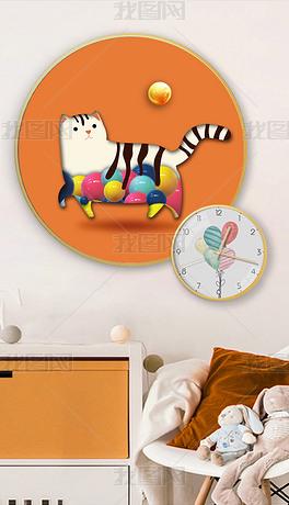 北欧风爱马仕橙简约萌宠3d猫咪卡通抽象装饰画