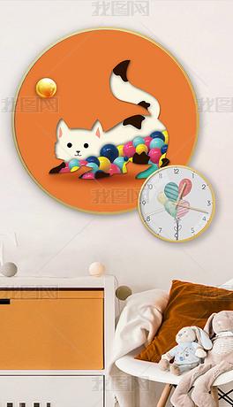 北欧风爱马仕橙简约萌宠3d猫咪球抽象装饰画
