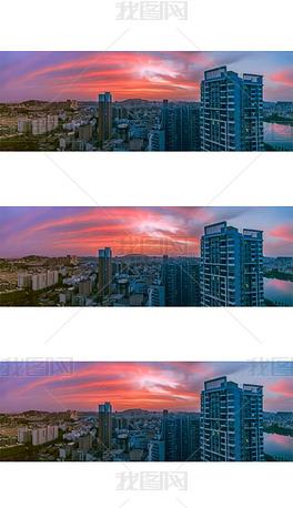 城市傍晚霞满天图片
