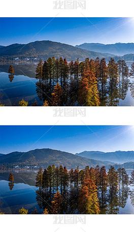 秋天的湖光山色摄影图