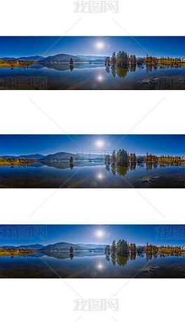 宽幅秋天的湖光山色摄影图