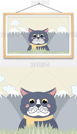 北欧ins风卡通可爱猫咪小清新儿童商业插画