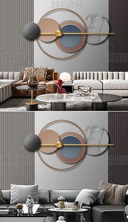 质感立体抽象轻奢几何现代简约沙发背景墙