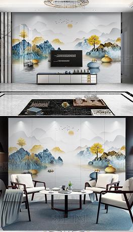 现代新中式水墨山水大理石纹背景墙装饰画