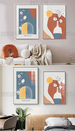 北欧色块客厅线条ins挂画卧室床头莫兰迪壁画