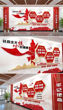 社会主义核心价值观文化墙红色党建文化墙