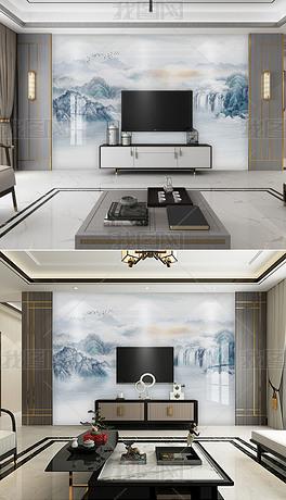 新中式水墨山水高清风景画背景墙壁画