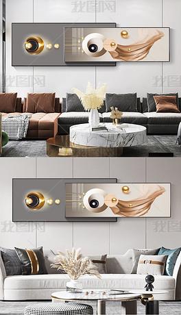 北欧现代轻奢抽象几何画中画组合客厅床头画