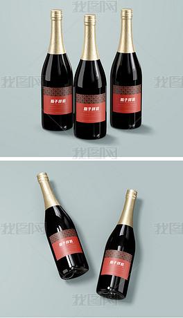 高品质香槟红酒玻璃瓶子包装样机