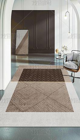 北欧现代简约几何线条轻奢抽象客厅地毯4