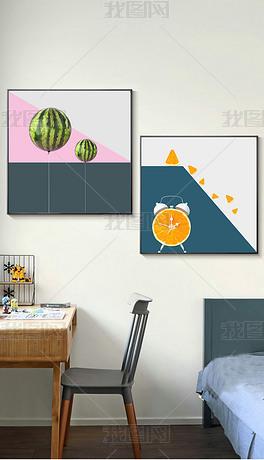 北欧现代简约ins轻奢几何水果创意抽象装饰画