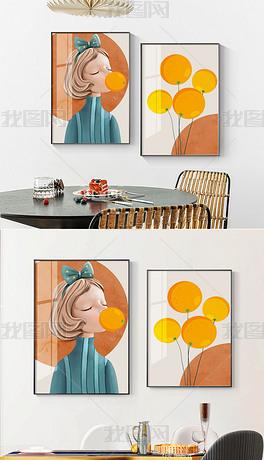 手绘小清新现代简约艺术餐厅装饰画