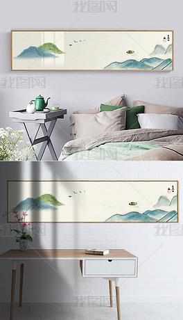 禅意山水装饰画床头画新中式意境山水千里江山图