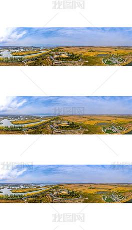 宽幅宁夏沙湖湖东湿地秋色
