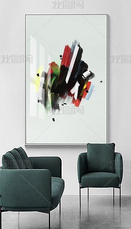 现代简约北欧轻奢抽象油画艺术笔刷客厅装饰画