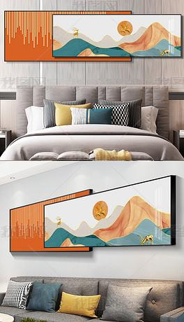 现代抽象轻奢日月星辉山水意境麋鹿组合装饰画