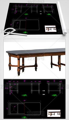 美式家具餐桌CAD桌子家具图库