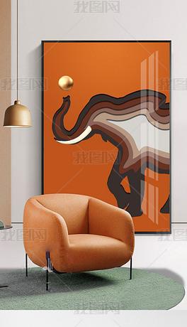 马到成功过道走廊玄关装饰画巨幅客厅背景墙3