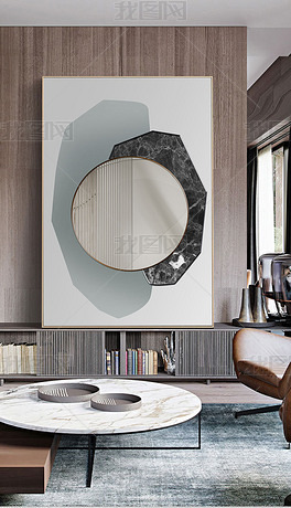 北欧现代简约抽象轻奢建筑风景玄关装饰画镜面画