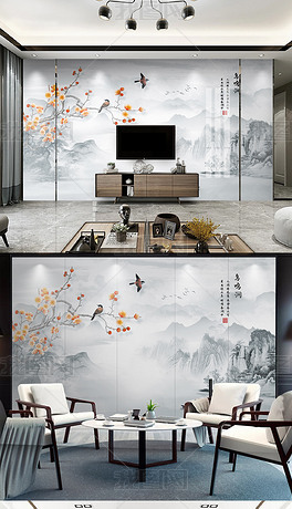 新中式花鸟山水大理石纹电视背景墙