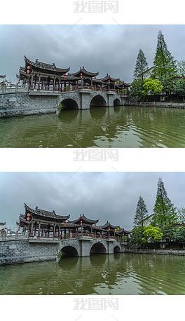 三河古镇对越桥摄影图