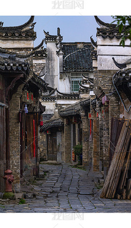 古镇街巷摄影图