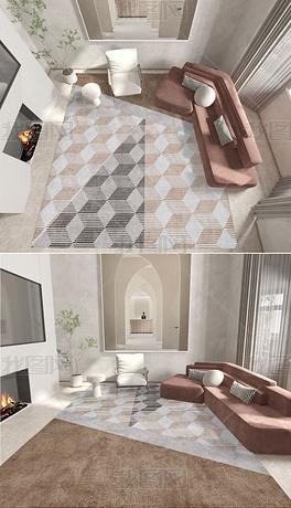 北欧现代轻奢抽像几何ins床边毯客厅地毯