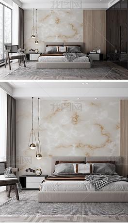 高清现代新中式大理石墙纸背景墙样机A7