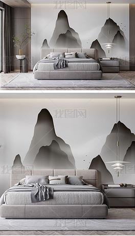 高清现代新中式黑白山脉壁画背景墙样机