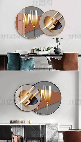 创意现代简约轻奢组合圆形餐厅装饰画