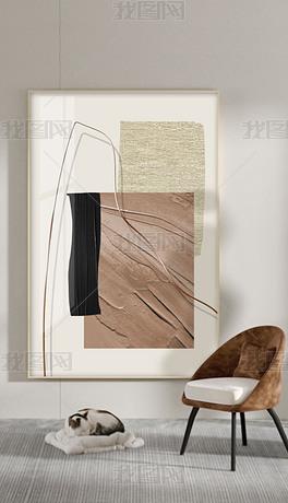 现代简约抽象几何油画轻奢玄关装饰画2