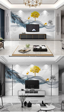 现代简约羽毛新中式抽象水墨山水线条电视背景墙