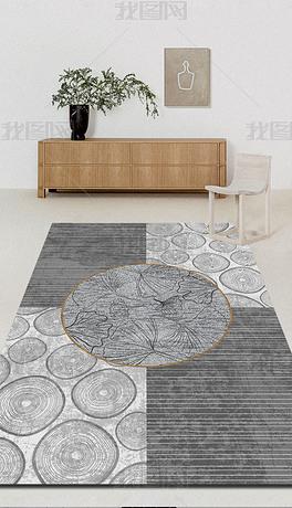 简约现代自然插图印花地毯现代简约植物地毯