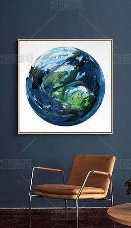 现代简约手绘地球抽象油画星球方形装饰画