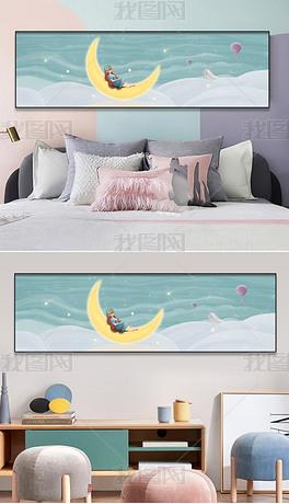 清新治愈系客厅背景画卧室床头挂画2