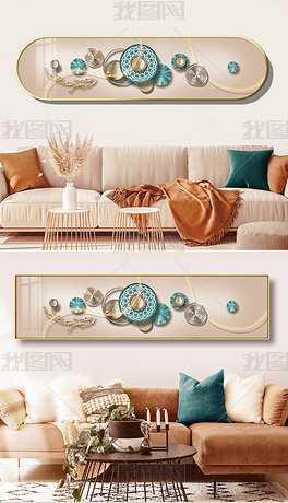 3D立体轻奢几何客厅客厅沙发墙装饰画