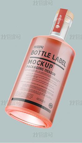 透明可换色木塞玻璃瓶包装样机